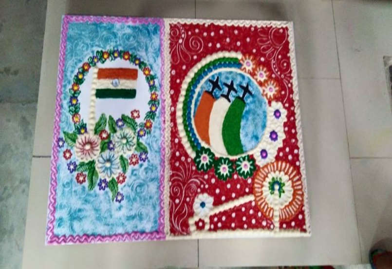 Creative rangoli on the occasion of INDEPENDENCE DAY